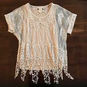 Anthropologie short sleeved lace top