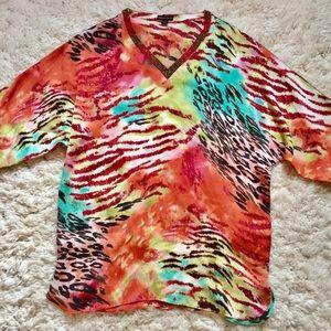 Dana Buchman |Animal Print Bead V-Neck Tunic Dress