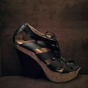 Shoes - Black faux leather lace up wedge heel sandals
