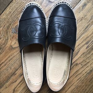 Black leather Chanel espadrilles