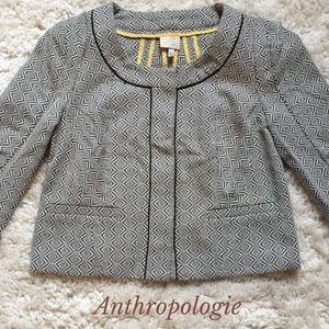 Anthropologie Patterned Brown Cream Blazer Jacket