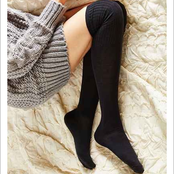 57356b212 Black Ribbed Knit Thigh High Over The Knee Socks