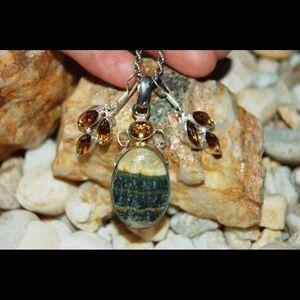handmade & handcrafted gemstone jewelry Jewelry - Bumble Bee Jasper Pendant & Citrine Beads Set