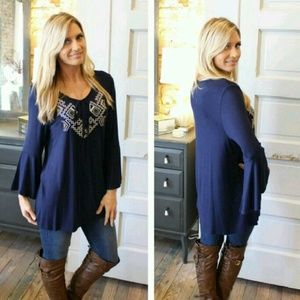Infinity Raine Tops - •Navy Embroidered Bell Sleeve Top•