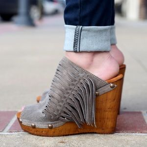 Sbicca Shoes - Sbicca fringed black suede mule/clogs