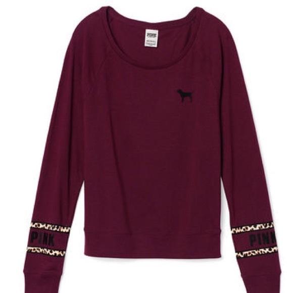 PINK Victoria's Secret - Victoria's Secret raglan maroon long ...