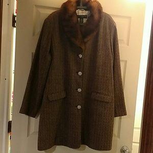 Venezia Jackets & Blazers - Tweed brown and beige tweed  coat