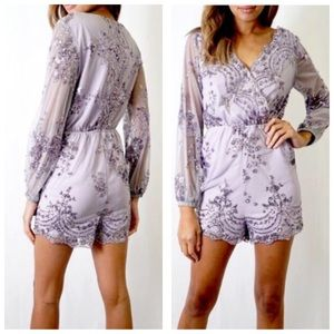 Tea n Cup Pants - Lavender Sequin Romper