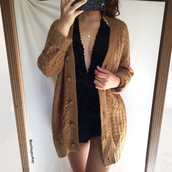 Faded Glory - SOLD light brown button up oversized knit cardigan ...