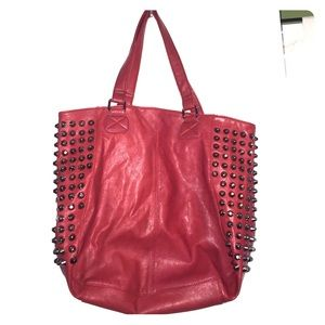 Red Vegan Leather Studded Purse