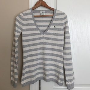 Lacoste Grey & Cream Striped V-Neck Sweater