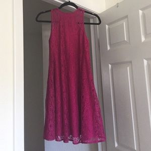 Fuchsia pink Lace Shift Cocktail Dress