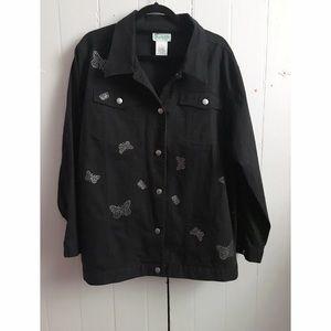 Quacker Factory Jackets & Blazers - Quacker Factory butterfly rhinestone denim jacket