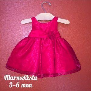 Marmellsta Red Glitter Flare Dress 3-6 months