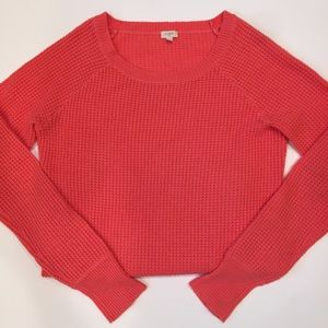 J. Crew Factory Sweaters - J. Crew Factory Coral Waffle Ribbed Sweater