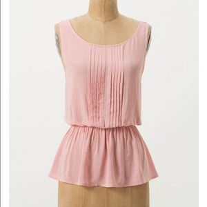Anthropologie Vanessa Virginia Pintuck Peplum Top