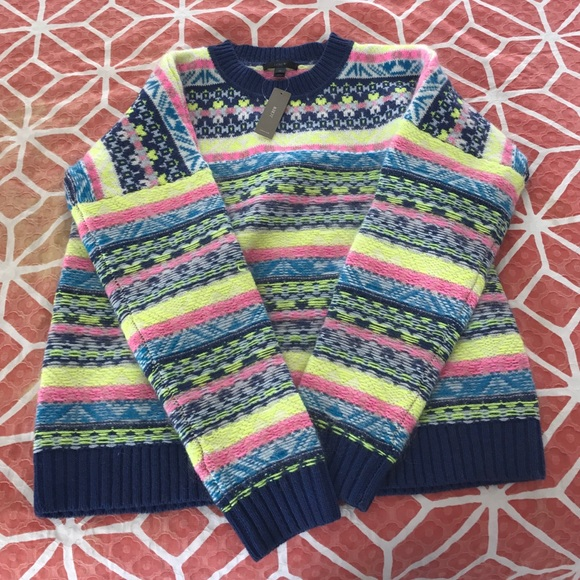 J. Crew - NWT J Crew Neon Fair Isle Sweater from Soojee's closet ...