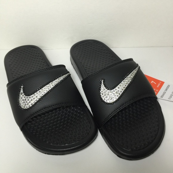 32883912a9ee7 Custom Blinged Nike Benassi Slides