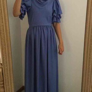 Vintage Formal Blue Puffed Sleeved Dress