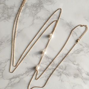 Pearl Body Chain Gold Thin Delicate Necklace