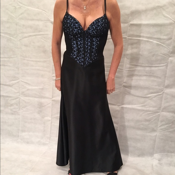 Cache Dresses | Black And Blue Corset Evening Gown | Poshmark