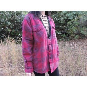 Three Wolves Tops - 💟Custom Made Lace Up Flannel