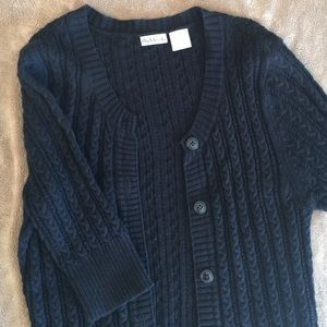 Rubbish Cable-knit black cardigan sweater.