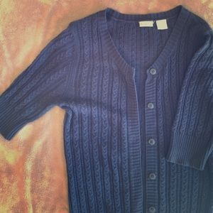 Rubbish, Navy cable-knit cardigan