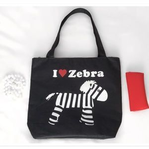 I ❤️️ Zebra Nylon Tote Carry all