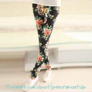 Black Pink Green Peonies Floral Soft Leggings