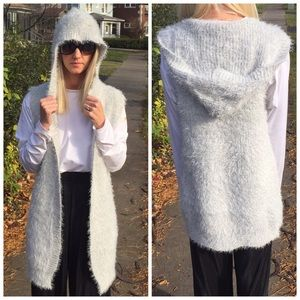 Plush hooded luxe super soft grey vest