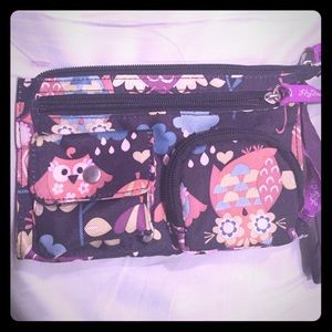 lily bloom Handbags - Lily Bloom NWOT owl wristlet black & purple