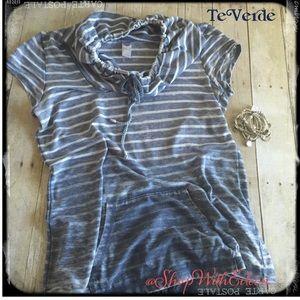 Te Verde Chambray Gray & White CowlNeck Sweatshirt
