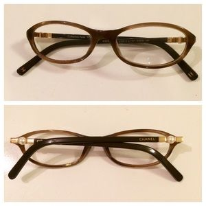 Chanel Eyeglass Frames With Pearls : 60% off CHANEL Accessories - Chanel Eyeglasses. Brown/Bone ...