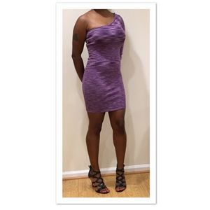 bebe Purple Metallic BodyCon Dress