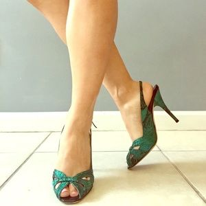 Jimmy Choo Shoes - Jimmy Choo satin reptile print slingback sandals 7