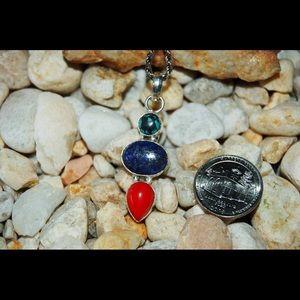 """handmade & handcrafted gemstone jewelry Jewelry - Lapis Lazuli & Onyx Pendant 2"""" w Free Chain"""