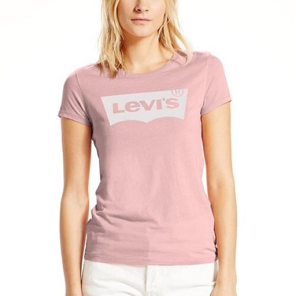 88b0fb86 Levi's Tops | Levis Womens Tshirt Tee Pink Batwing Logo Xs | Poshmark