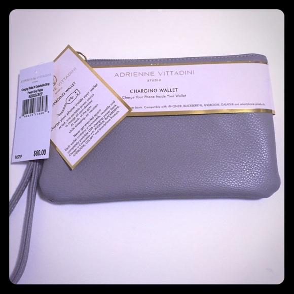 Adrienne Vittadini Handbags - Adrienne Vittadini Gray Charging wristlet