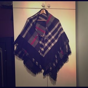 Accessories - Tartan patterned fringe wool shawl/scarf