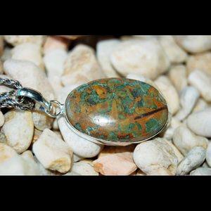 "handmade & handcrafted gemstone jewelry Jewelry - Poppy Jasper Rough Statement Pendant 1 1/2"""