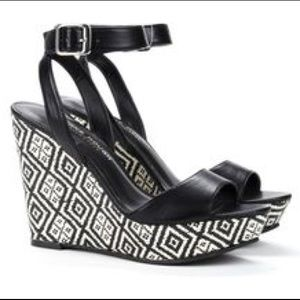 Sole Society Shoes - Ankle Strap Platform Wedges Sandals