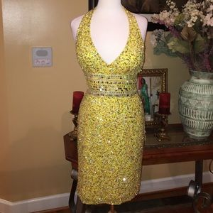 Scala Yellow Sequin Dress-Sz8