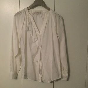 LOFT L/S Cotton Button Down Blouse size XS