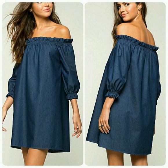 f89f3fa213de Last1🎉Dark Blue Denim Ruffled Off Shoulder Dress