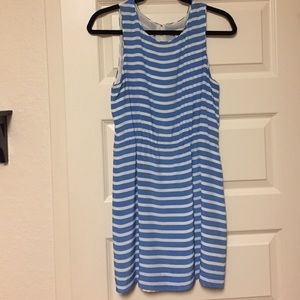 Jcrew silk blue/white stripe dress
