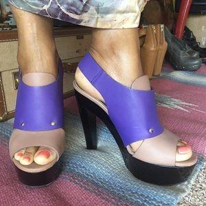 """Marni Platform Purple Taupe """"Sienna"""" sandal heels"""