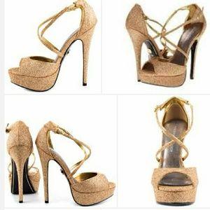 Adrienne Maloof Shoes - NIB Adrienne Maloof Sparkle Platform Heels