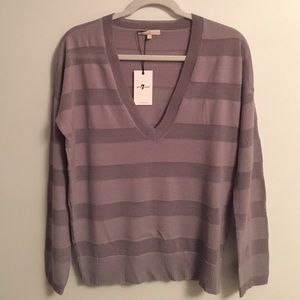 NWT SEVEN 7 For All Mankind sweater v neck grey S
