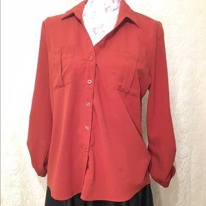 Burned orange button up size large blouse